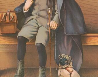 Vintage illustration of boy and his dog, digital download