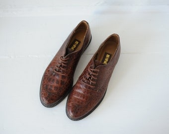 Vintage Ipanema Brown Leather Oxford Shoes, Womens 6 1/2 / ITEM100