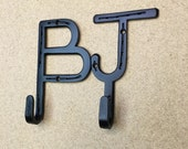Wall mounted 2 letter coat hooks, made from real horseshoes. Rustic country western decor ANY 2 LETTERS