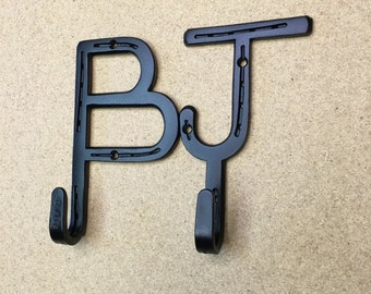 wall mounted 2 letter coat hooks made from real horseshoes rustic country western decor any 2 letters