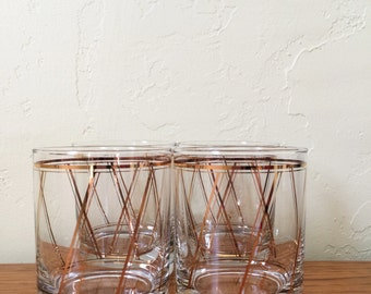 Vintage Georges Briard Gold Stripe Old Fashioned Glasses Set of 4 Lowball Double Old Fashioned Mid-Century Modern Barware