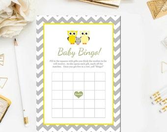 Owl Baby Shower Games Owl Baby Bingo Baby Shower Games Grey Chevron Owl Baby Shower Game Print Instant Download Item291