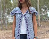Crochet vest Pattern, boho crochet vest, hippie vest, Long Blue Vest, Collared vest, Vest pattern for women, shrug cardigan sweater shawl,