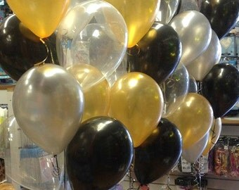 New Years Eve Balloons New Years Table Centerpiece New Years Backdrop  2016 decoration New Year Centerpiece Gold Balloons Black Balloons