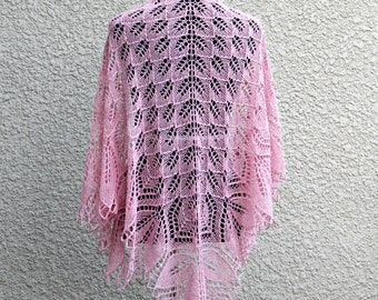 Knit shawl in soft pink, pink shawl, wedding shawl, bridesmaids shawl, knitted wrap, gift for her ready to ship