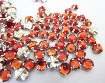 50 vintage sew on rhinestones, Ø5mm, topaz red mix, round