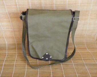 Vintage Waterproof Army Green Canvas Cross Body Bag Messenger Satchel