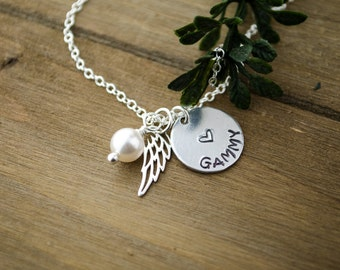 Angel Wing Name Necklace | Sterling Silver Memorial Necklace | Rest in Peace Memory Necklace | Sterling Silver Charms