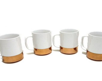 Coffee Mugs Coffee Cups Tea Cups Ceramic Coffee Mug White & Copper Coffee Mugs Copper Coffee Cups Cooks Bazaar Mugs