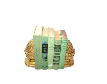 Pineapple Bookends Gold Gilded Pineapple Bookends Hollywood Regency Bookends Gold Pineapple Bookends