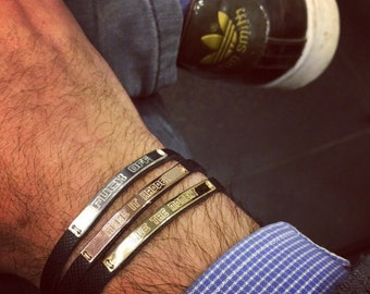 Men bracelets  , Mens Personalized Leather Bracelet , live the life you love Leather Cuff. Motivational Bracelets for men, Fathers day gift