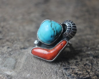 Turquoise Coral RING / Navajo Sterling Silver Jewelry / Vintage Size 8 1/4  Ring