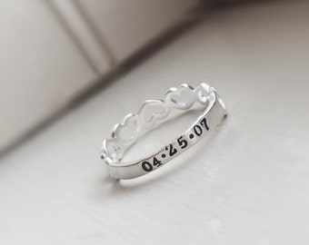Heart Stacking Ring Personalized Name Date Row of Hearts Simple Dainty Engraved Stamped Mommy Ring