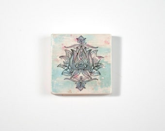 Lotus Art Block, Art Blocks, Boho Art, Wood Printing, Wood Block Art, Bohemian Art, Small Art, Mandala Art Print