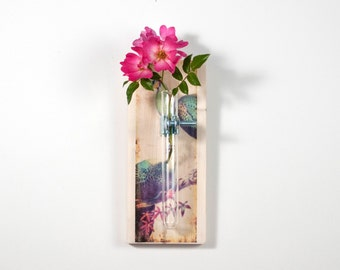 PEACOCKS Print Wall Vase - Hanging Vase, Bud Vase - Wall Sconce Vase - Science Chic, Cottage, Shabby, art vase, boho, Peacock vase