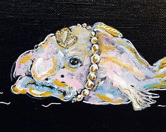 Blobfish painting, ugly fish, original art, curio wall art, acrylic painting, ugly cute, deep sea fish, blob fish, strange canvas art
