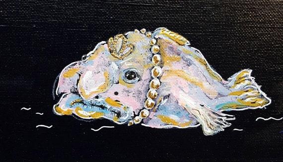 Blobfish painting ugly fish original art curio wall art by for Ugly fish blob