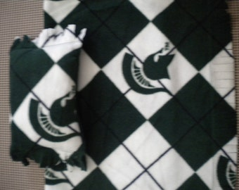 Michigan State Blanket and Pillow Set. Handmade