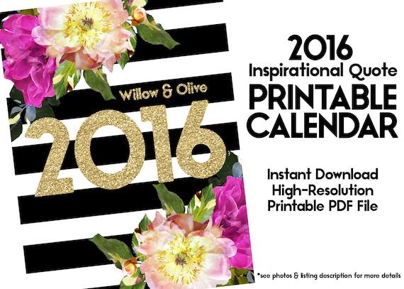 Calendar Inspirational 2016 : Printable calendar inspirational quote by willowandolive