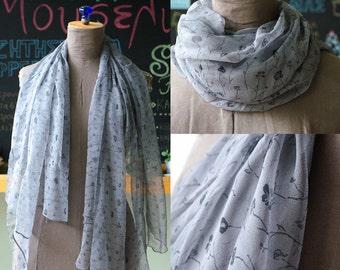 Vintage Sheer Grey Silk Shawl - modern and elegant patterned scarf - flowers