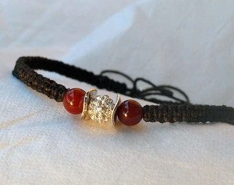 Black Chocker Necklace, Rhinestone Choker, Gemstone Choker,  Macramee Choker, Agate Stone Choker