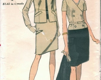 Smart Mod Uncut Vintage 1960s Vogue 7180 Contrast Option Double-Breasted Dress and Jacket Sewing Pattern B34