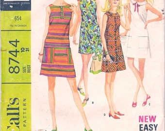 Cute Mod Vintage 1960s McCall's 8744 Easy Sleeveless A Line Mini-Dress in 6 Versions Sewing Pattern B31