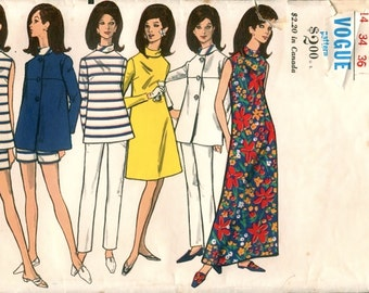 Mod Vintage 1960s Vogue 7194 Nautical Style A Line Dress, Tunic Top, Jacket, Pants and Shorts Sewing Pattern B34 W26