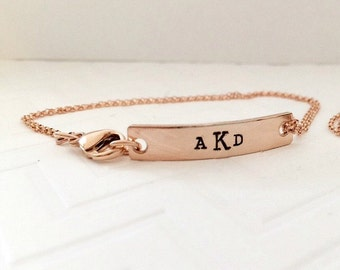 Rose Gold Bar Bracelet - Monogrammed Rose Gold - Hand Stamped Rose Gold - Rose Gold - Bar Bracelet - Initial Jewelry - The Charmed Wife