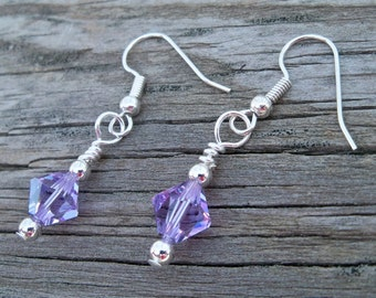 Hand Wire Wrapped Earrings Birthstones 8mm Bicones Swarovski Crystals Sterling Silver