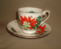 "Christmas Queen Anne Bone China NOEL Demitasse Cup & Saucer ~ Holly Poinsettia ~ (2-1/2 x 2-1/4"" Demi Cup)"