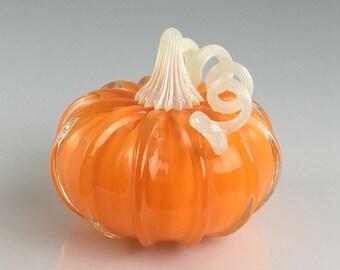 """4"""" Glass Pumpkin by Jonathan Winfisky -Retro Opaque Bright Pumpkin Orange - Hand Blown Glass"""