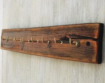 Rustic Reclaimed Wood Key Rack, Note  Holder, Jewelry Organizer, Rustic Wooden Rack, Antique Effect