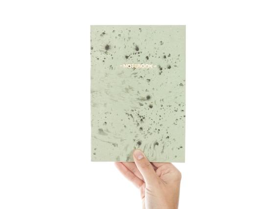 Nigrum Unda #2 gold notebook - pastel green and black cover - golden foil GLD5002