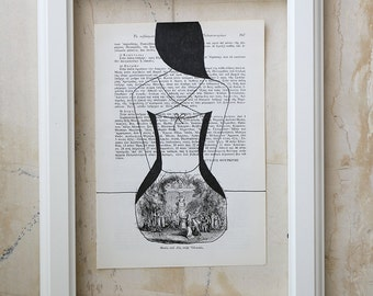 Pen drawing / illustration on vintage book page - Portrait of a Seated Woman (from the back) - One of Kind Original Drawing