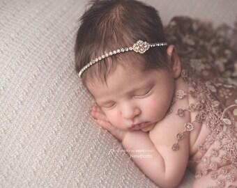 Dainty Headbands Simple Headbands Dainty Baby Headbands Simple Baby Headbands Gold Rhinestone Headbands Newborn Headbands Baby Photo Props