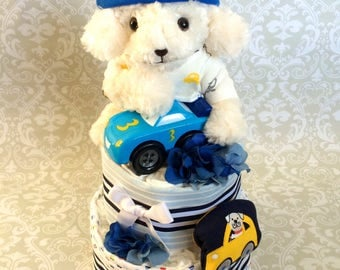 Baby Boy Diaper cake - Two Tier Blanket Diaper Cake - made to order