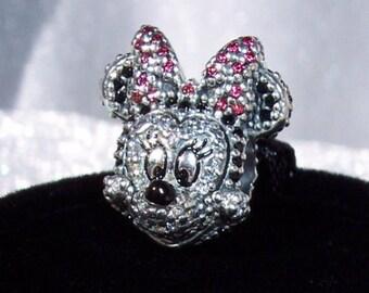 "Sparkling Minnie Portrait Pave Pandora Disney  ""Limited Edition"" Genuine Designer Bracelet Icon Slider Glam Charm FREE SHIPPING"