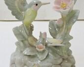 "Vintage Porcelain Musical Figurine. Hummingbird. Plays ""Unchained Melody"",Keepsake,Birthday Gift,Christmas Gift,Otagiri,Japan"