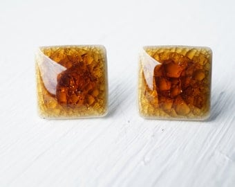 Brown Ceramic Square Stud Earrings