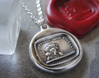 Wax Seal Necklace - Hopeless But Faithful - antique wax seal charm jewelry Cupid love necklace RQP Studio