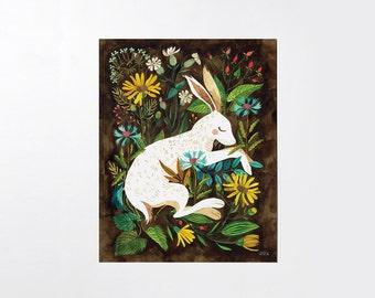 Sleepy Hare - 8x10 art print