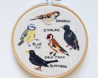 British Garden Birds - Embroidery Hoop Art - 4 inches diameter