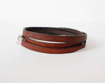 distressed brown triple leather wrap, unisex cuff bracelet, boho chic, rocker style, mens leather bracelet, gift for him, gift for her