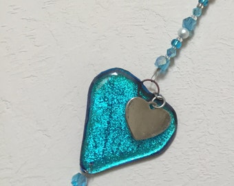 Valentine's Day Aqua Suncatcher, Aqua Window Bling, Heart Suncatcher