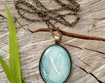Custom Personalized Handwritten Monogram Initial Calligraphy Watercolor Glass Dome Oval Pendant Necklace - Bridesmaid Gifts - Gifts for Her