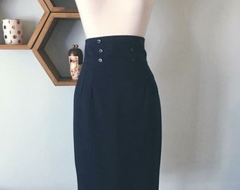 SALE 1960s vintage navy blue wool sailor pencil skirt wiggle pinup