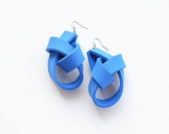 Blue earrings, knot earrings, sculptural earrings, foam earrings, long earrings, gift for her, ultralight earrings, summer trends