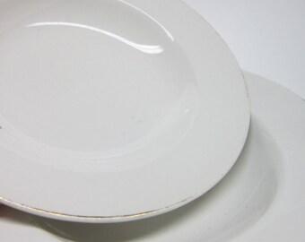 Vintage 2 White Soup Bowls  Derwood W.S. George 181 C Gold trim