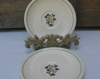 Wedgwood Edme China Saucers, Wedgwood Dinnerware, Set of TWO, Purple Green Floral Saucers, Vintage Saucers, Wedding MyVintageTable